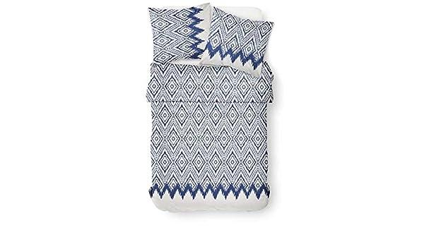 100/% Coton 2 Personnes Gamme Cyclades Blanc//Bleu TODAY Housse de Couette Santorin 240x260cm