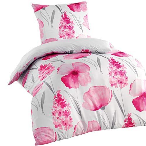 Optima 2-Teilige Wende Bettwäsche Mikrofaser 155x220 Kissenbezug 80x80 Rosa Pink Weiß Naturmotiv Geblümt (Kissenbezug Mikrofaser-rosa)