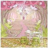 azutura Pink Princess Castle Papier Peint Photo Conte de fée Papier Peint Chambre des Filles Décor Disponible en 8 Tailles XX-Grand Numérique