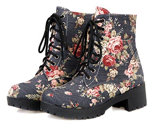 Blumen Dunkelblau Chunky Denim Ye Canvas Plateau Herbst Heel Schuhe Winter Ankle Boots Short Damen Schnürstiefeletten qUqSIB