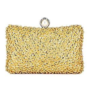 Abendtasche Damen Perle Clutch Bag Kette Shiny Pailletten Handtasche Klein Umhängetasche für Hochzeit Party