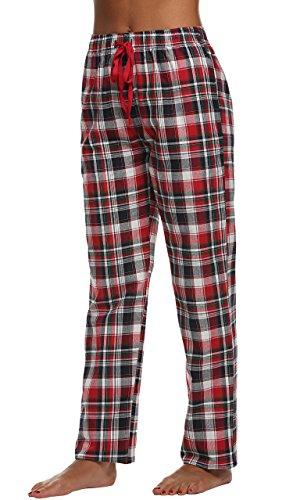 Meloo Schlafanzughose Damen Lang Pajama Hose Beiläufige Baumwolle Plaid Pyjamahose Rot