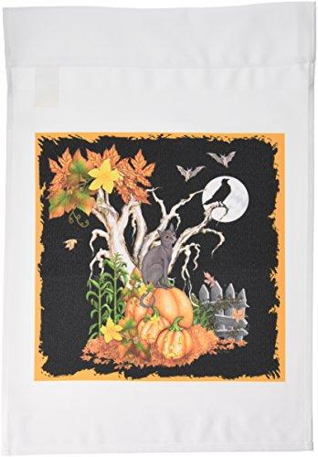 3drose FL _ 13069_ 1Halloween Nacht mit eine schwarze Katze Creepy Baum Full Moon Fledermäuse und Jack O Laternen Garten Flagge, 12von 18