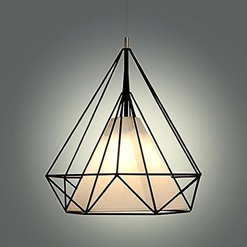 BBSLT Moderno e minimalista sala da pranzo lampadario Cafe den diamanti Ciondolo, moda birdcage ferro battuto soggiorno lampadario , bianco
