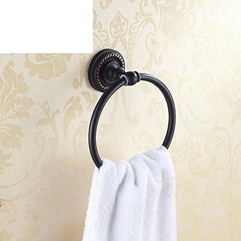 anillo de toalla de bronce negro antiguo/Todo-cobre toallero/colgante de baño de metal Europea