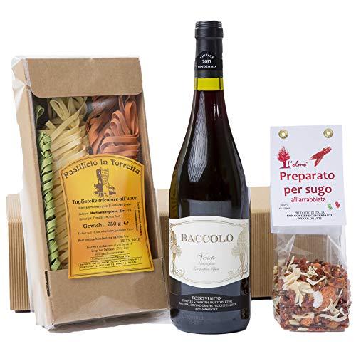 """""""Geschenkpaket Gusto Italiano"""" Rotwein, Pasta Tricolore, all'Arrabiata Gewürzmischung  (1 x 0.75 l)"""