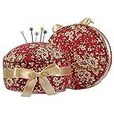 neoviva Stoff beschichtet Nadelkissen für lange Nadel, Stil Cupcake Floral Mandarin Red Blossom