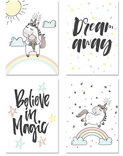 Kinder Poster Set Einhorn / Typographie, 4 Motive DIN A4 Hochformat, Dekoration fürs Kinderzimmer für Mädchen, Kinderposter