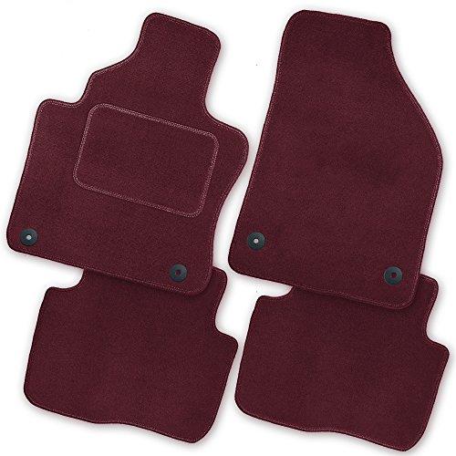 Bär-AfC MI07211n Royal Auto Fußmatten Velours Rot, Rand Kettelung Rot, Textiler Trittschutz, Set 4-teilig, Passgenau für Modell Siehe Details