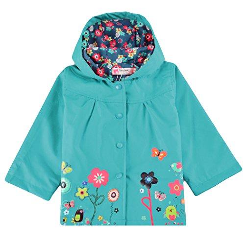 Trudge Mädchen Regenjacke Trenchcoat Outdoorjacke für Kinder Winddicht Regenfest Mit Kapuze Doppelschicht Blumenmuster 90-140CM (110(Alter:3-4), Blau) Kinder Trenchcoat