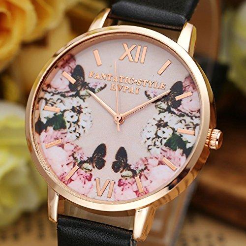 JSDDE Uhren,2er Set Modische Schmetterling Blumen Armbanduhr Basel-Stil Damen Uhr PU Lederband Rosegold Analog Quarzuhr - 3