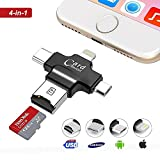 #8: Aavjo® , 4 in 1 Micro SD/TF External Memory Card Reader Storage Expansion with Lightning, USB Type C, USB & Micro USB Interfaces for iPhone iPad Macbook Mac iOs Android Pc Laptops Type C devices ( Supports upto 128 GB ) (Black)