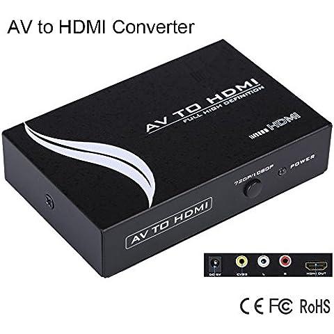 Milkee Alloggiamento In Metallo RCA Audio Video AV CVBS a HDMI convertitore adattatore con Scaler