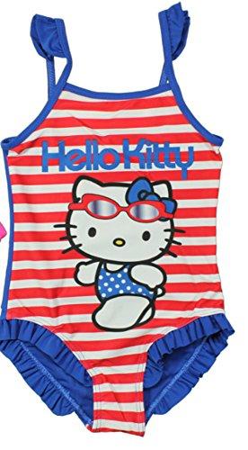 Sanrio Hello Kitty Mädchen Badeanzug (128-134, Rot/Blau) (Kitty Mädchen Hallo Für)