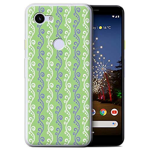 eSwish Gel TPU Hülle/Case für Google Pixel 3a / Grün Muster/Weinstock Kollektion -