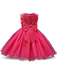 f0f7cda01 NNJXD Vestido de Fiesta de Princesa con Encaje de Flor de 3D sin Mangas para  Niñas