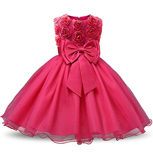 NNJXD Mädchen Ärmellos Spitze 3D Blumen Tutu Urlaub Prinzessin Kleider Größe(150) 6-7 Jahre Rose