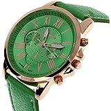 Amsion Marea números romanos de cuero de imitación de cuarzo analógico reloj de las mujeres (verde)