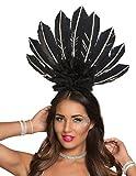Generique - Brasilianischer Kopfschmuck mit Federn für Damen Schwarz