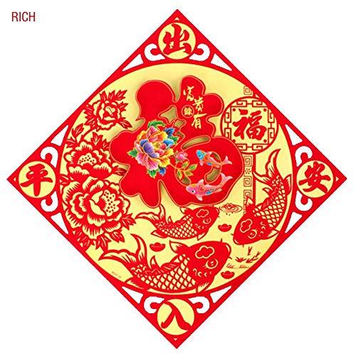 Wovemster Neue Jahr Frühlingsfest Wanddekoration Aufkleber,Fu Charakter,Festliche Dekorationen, Um Die Frühlingsfest-Atmosphäre Zu Fördern,Frieden Eingehen