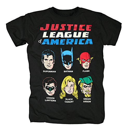 TSP Justice League of America - Faces T-Shirt Herren M Schwarz (Justice League Of America Kostüme)