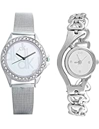 BLUE DIAMOND White Dial Silver Analog Watch Combo For Woman's & Girls Pack Of 2