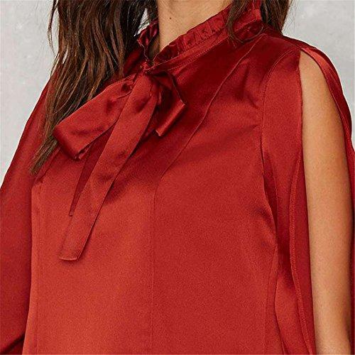 Casual Vin Pour Femmes Hauts De Chemise Rouge La Mode Des Nouvelles Femmes Sprint / Automne Blouse vin rouge
