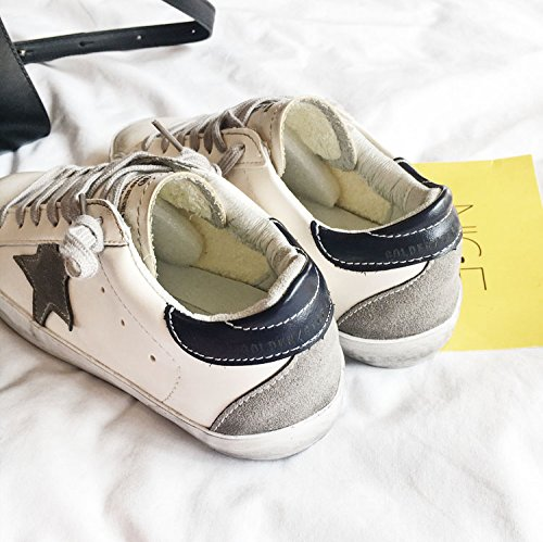 QQWWEERRTT Herren Schmutzige Schuhe Retro Old Star Schuhe Freizeitschuhe Sportschuhe Damenschuhe Flache Weiße Schuhe, 22.5, Marineblau