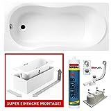 PREMIUM Rechteck Badewanne Acryl DESIGN 140x70 cm mit MONOLITISCHEM Wannenträger Füßen und Ablaufgarnitur GRATIS