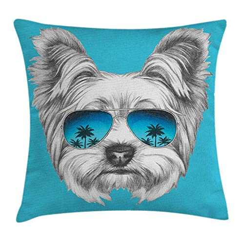 Keoik Yorkie Throw Pillow Cushion Cover, Yorkshire Terrier Portrait with Cool Mirror Sunglasses Hand Drawn Cute Animal Art, Decorative Square Accent Pillow Case, Blue White 20x20inches