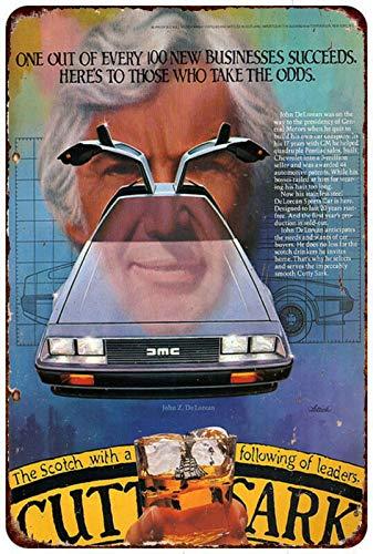 Yilooom AMC Delorean Vintage Auto-Werbeschild Cutty Shark Reproduktion Metallschild, 20,3 x 30,5 cm