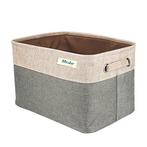 Mr.do Aufbewahrungsbox Aufbewahrungskorb Spielzeug Kleidung Organizer Korb Aufbewahrung mit Henkel Stoff Natürliche Leinen und Baumwolle Buch Lagerung, Speicher Würfel für Regal, Graugrün und Beige -