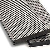 WPC Terrassendielen Massiv Dielen - Komplett-Set Hellgrau | Qualitäts-Muster Holz-Brett Dielen | Boden-Fliesen + Unterkonstruktion & Clips | Balkon Boden-Belag + rutschfest + witterungsbeständig