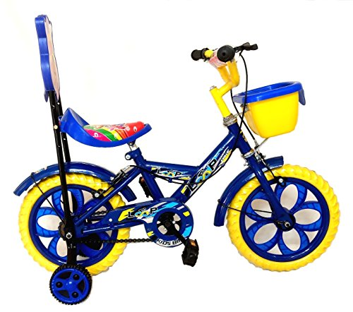 Loop Bikes Aqua Blue Yellow 14 Inches Bicycle For 3 To 5 Years Kids