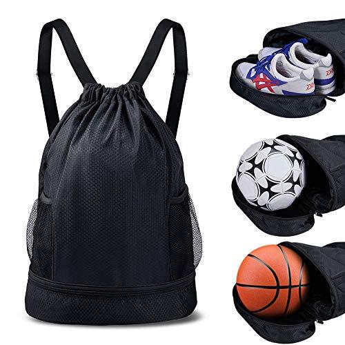 Turnbeutel Sportbeutel Gymsack Drawstring Bag Sporttasche schwarz für Junge Damen Herren Basketball Fußball Schule