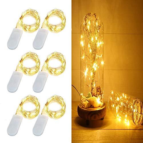 ee-Schnur-Licht-Batteriebetriebene Lichterketten Firefly Lichter 20 LED Sterne Schnur-Lichter auf 6.6ft / 2M Silvery Kupferdraht für DIY Weihnachtsdekoration Kostüm Hochzeit ()