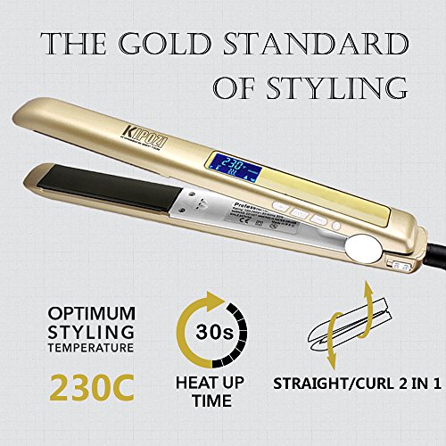 KIPOZI Pro Hair Straighteners 230 Digital LCD Titanium Flat Iron Anti Frizz Hair Styler Dual Voltage,Instant Heat Up (Gold)