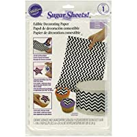 Wilton 710-2921 Black and White Chevron Sugar Sheets, 8 by 11-Inch