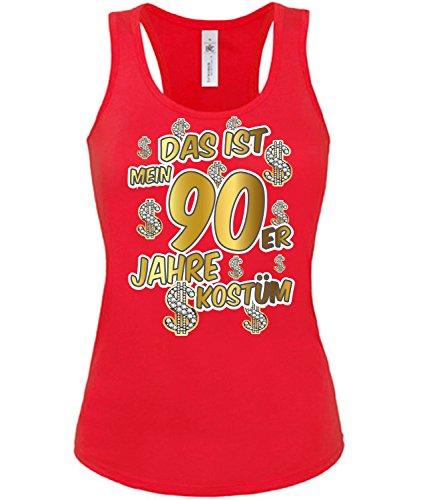 Das ist Mein 90er Jahre Kostüm 4524 Karneval Faschingskostüm Damen Fun Tank Top Shirt Fasching Rot S