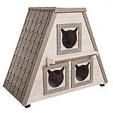 Casetta per gatti da esterno in legno con tre spazi separati per il riposo e per la protezione da vento, freddo e calore. La porta sul lato posteriore ne consente la facile pulizia DIMENSIONI: L 90 x P 50 x H 75 cm