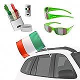 Taffstyle® Fan Set Fanartikel Italien Auto Fahne Brille Schminkstift Fussball WM Weltmeisterschaft EM 2016 Autoset Italia