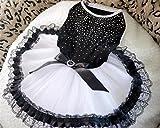 NaXinF Elegante Kleidung für Haustiere Sommer Spitze Bogen, Hund Katze Brautkleid Schwarz Weiß M