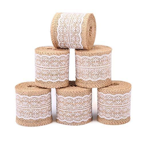 Tenlacum rotolo di nastro di iuta con pizzo bianco trim tessuto naturale 6pz burlap roll for rustic wedding decorations 5,8cm larghezza nastro per crafts iuta con pizzo 2meters ogni