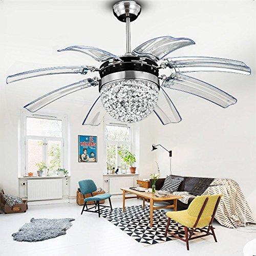 8 lame invisibili cristallo ventilatore a soffitto retrattile telecomando led silenzioso moderno ventilatore lampadario per soggiorno decorativo ristorante 42 pollici argento