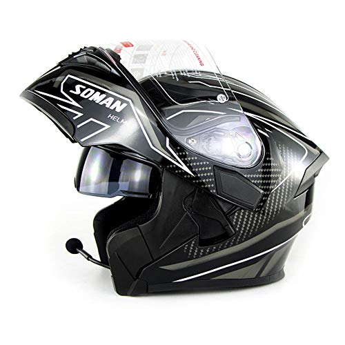 Casco Moto Flip Up Full Face Casco Moto Bluetooth con Auricolare Bluetooth Dual Lens antiappannante D.O.T Uomo Approvato per ATV/MX/DH/MTB/UTV/Enduro,White,L