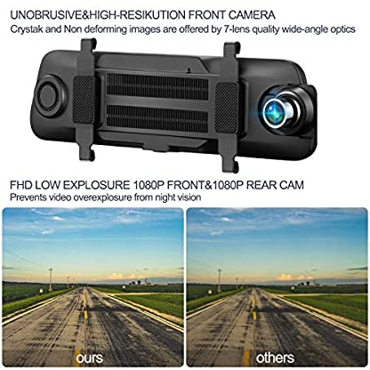 Dashcam-Aonerex-Touchscreen-Autokamera-mit-Rckfahrkamera-Spiegel-Dual-Lens-966-Full-HD-1080P-Rckspiegel-Loop-Aufnahme-Frontkamera-Rear-Kamera-fr-Nachtsicht-Rueckfahrkamera