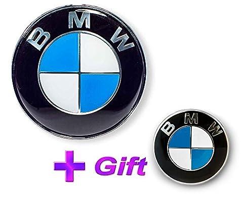 BMW Emblem Logo Vorderseite 82mm (51148132375) + BMW Lenkrad Emblem 45mm (36131181082) selbstklebend Stahl Blau Tec Serie 1, 3, 4, 5, 6, 7,