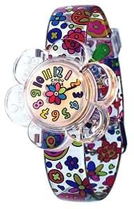 Baby Watch - Lola - Montre enfant - Fille - Choufleur - Bracelet Plastique Blanc - Motifs : Dessins multicolores
