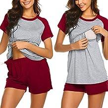 GUCIStyle Pijama de Lactancia Verano Ropa Mujer Premamá Embarazadas de Manga Cortas Camiseta de Enfermería