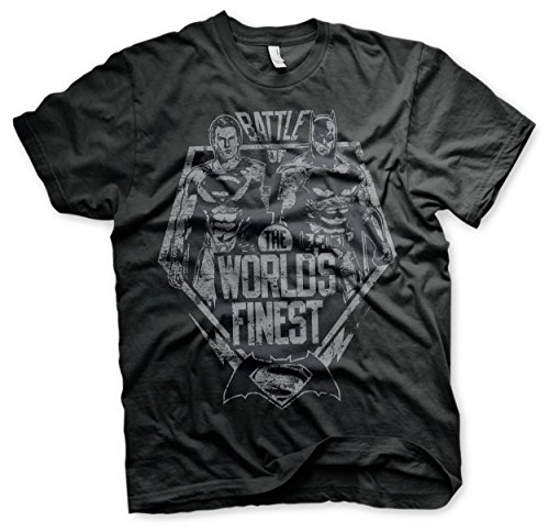 odukt Battle Of The Worlds Finest T-Shirt (Schwarz), XX-Large (Wayne's World Wayne Kostüm)